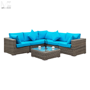 High Back Rattan Wiker Sectional Sofa Set Outdoor Patio Furniture