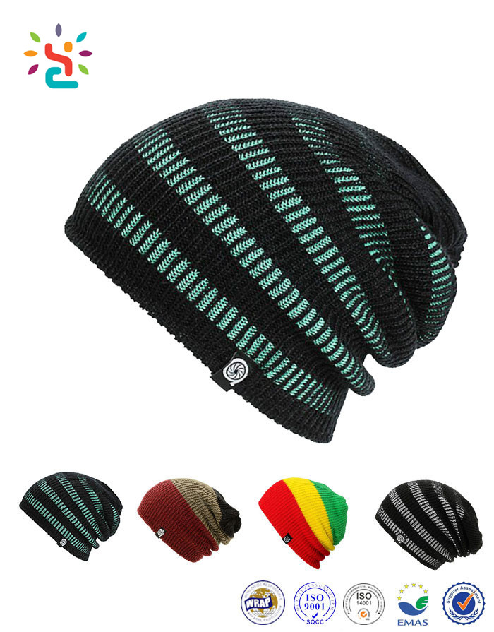 7cc4e7c0530 2019 Hot Sale Mens Rasta Beanie Tam Hat Slouchy Knitting Beanie Striped  Cashmere Hat And Cap