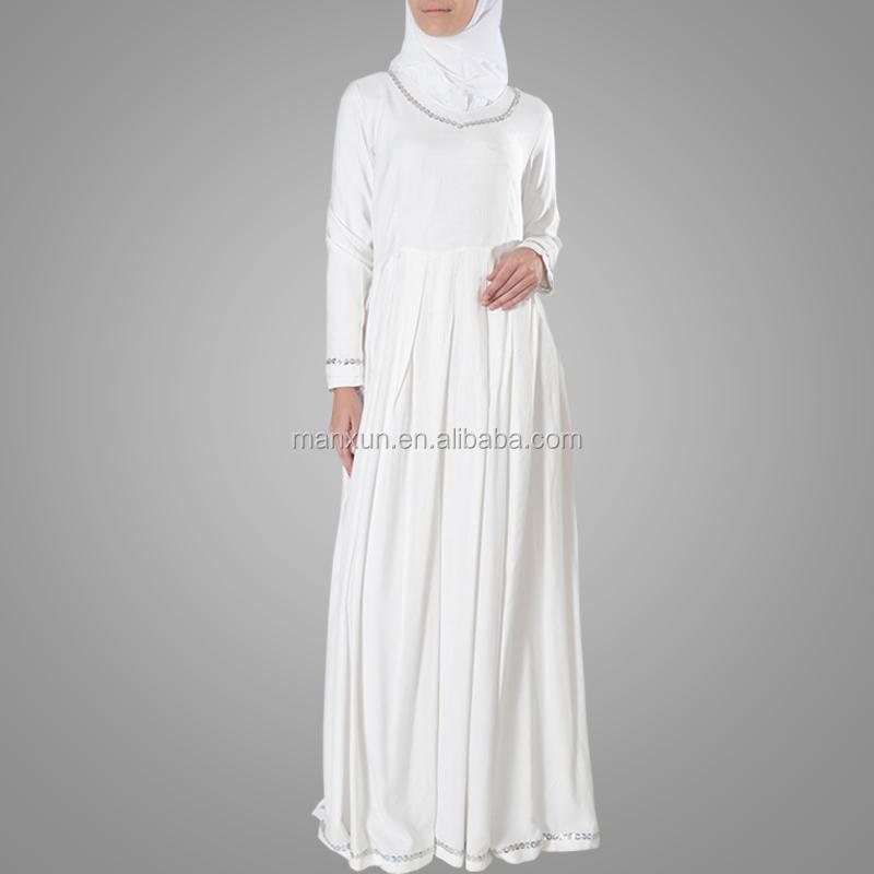 Basic Maxi Jurk.Moslim Witte Abaya Sliver Trim Hajj Umrah Basic Abaya Lange Mouw