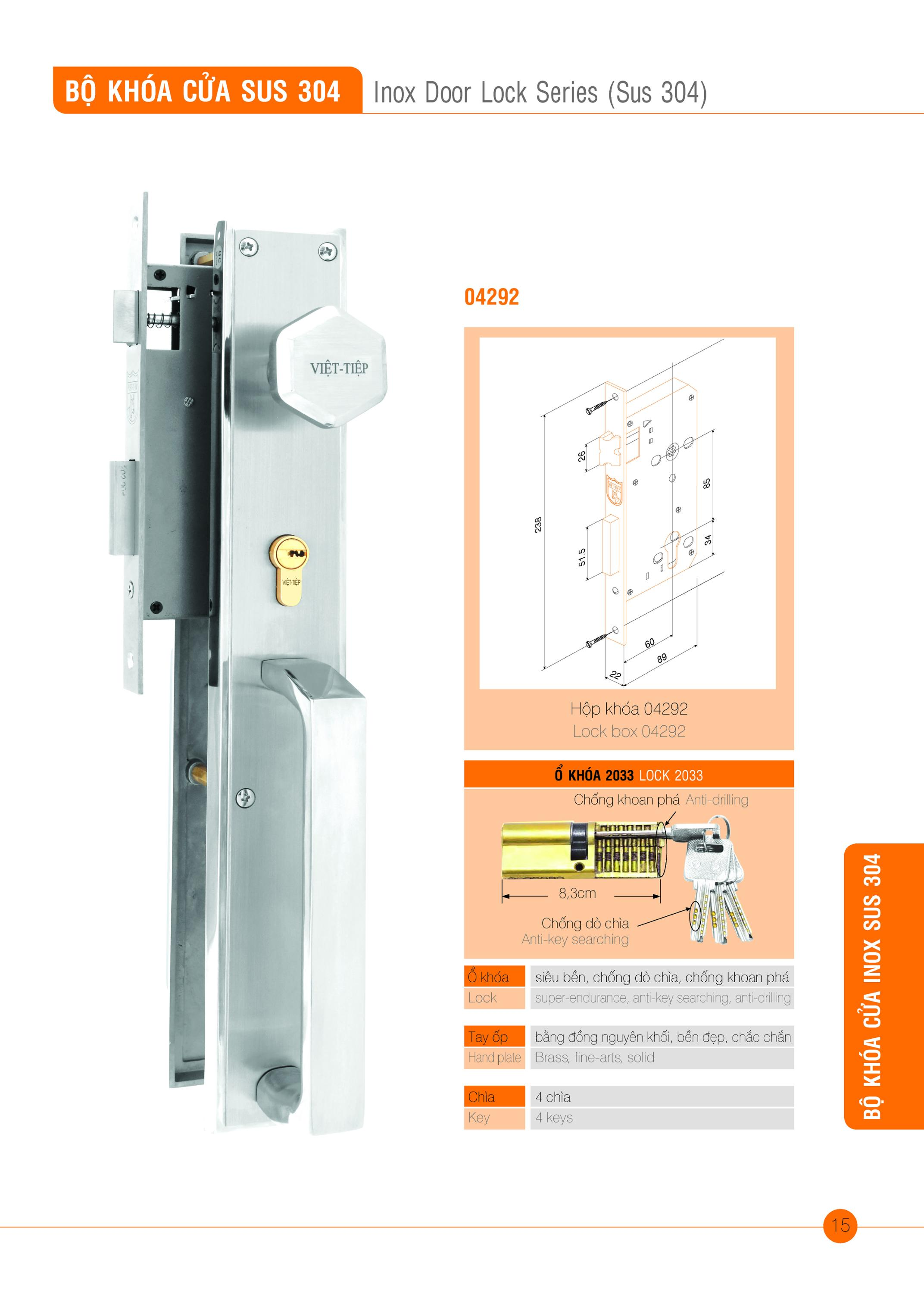 Inox Door Lock Series (Sus 304)