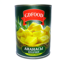Canned pieces pineapple in light syrup 580ml
