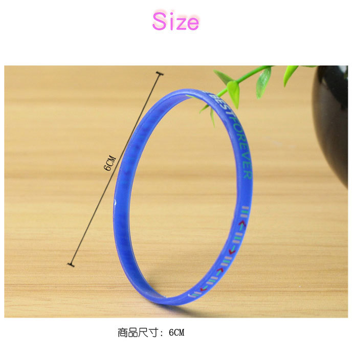 Factory direct sell thin size rubber wristband customized printing rubber band concave lettering noctilucent rubber band