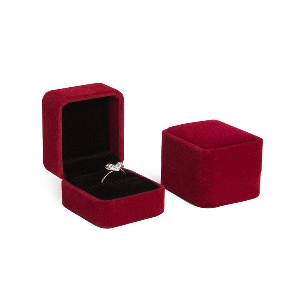 INSANEY Black Velvet Couple Ring Boxes Jewlery Boxes,Jewlery case (Red)