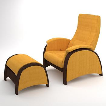 Armchair with footrest G2&P2 Walnut Veneer (Yellow)