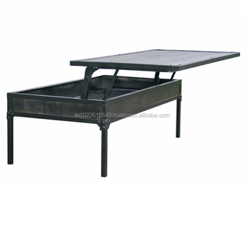 Industrial Vintage Metal Iron Coffee Table, Vintage Metal Adjustable Top Coffee  Table