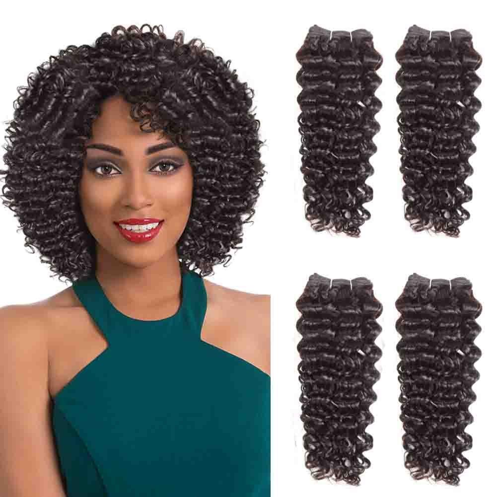 "SLEEK 4 Bundles of Short Jerry Curl Weave Human Hair (8""/8""/10""/10"", NATURAL BLACK) - Sew in Hair Extensions for Black Women - Weft Hair Extensions Human Hair - Brazilian Weave Bundles Curly Weave"