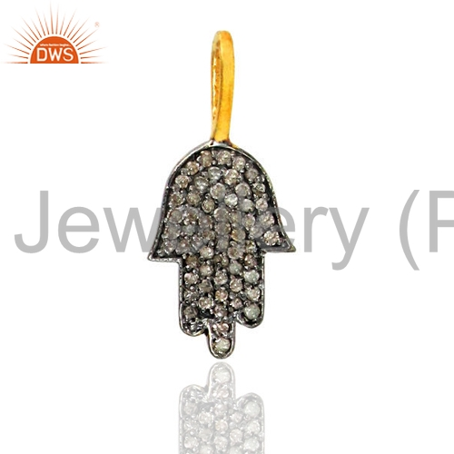 Handmade Pave Diamond Hamsa Charm Pendant 925 Sterling Silver Girls Pendant Jewelry Supplier