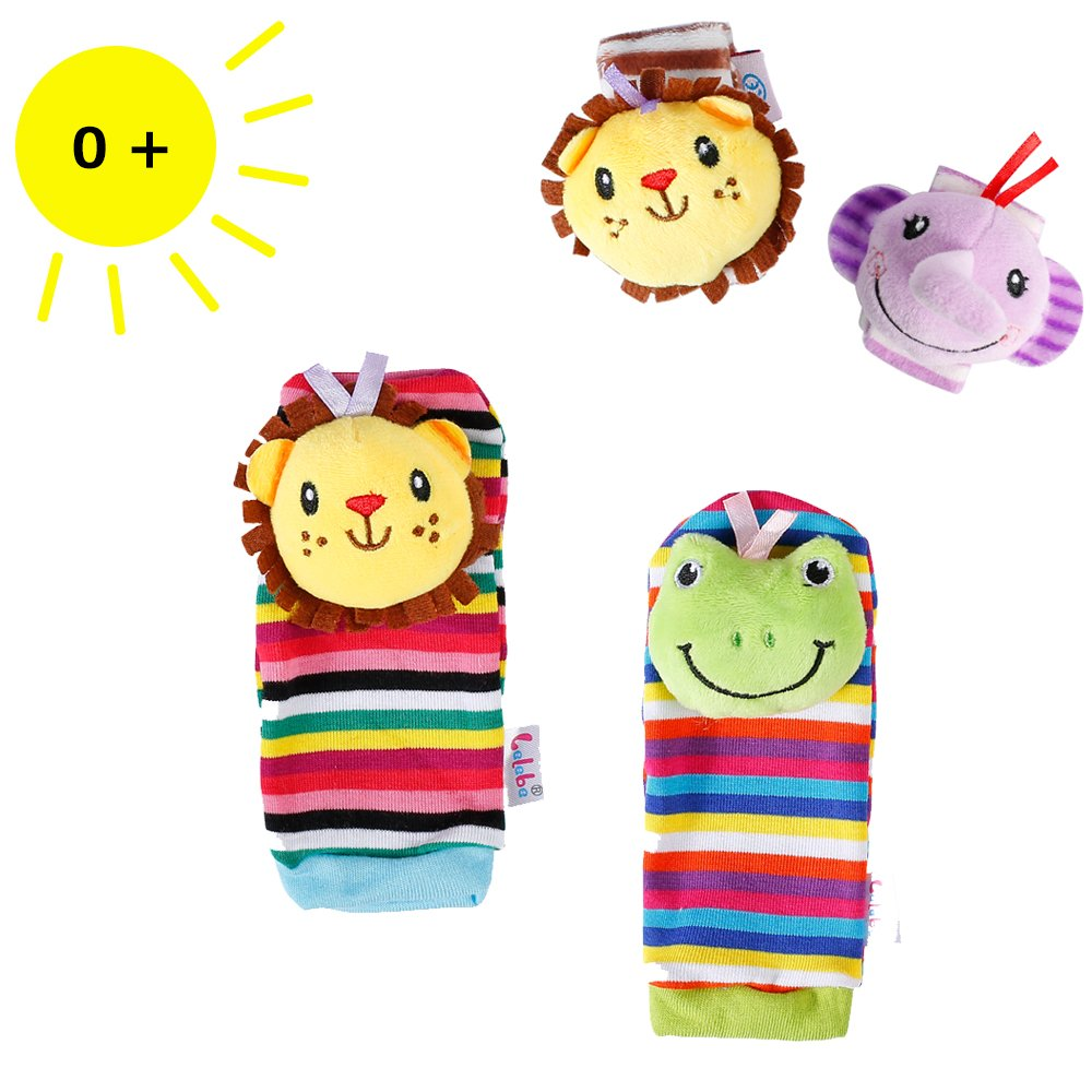 Sue's 4PCS Baby Wrists Rattle and Foot Finders Socks Set Infant Developmental Soft Animal Toy Gift - Elephant and Lion