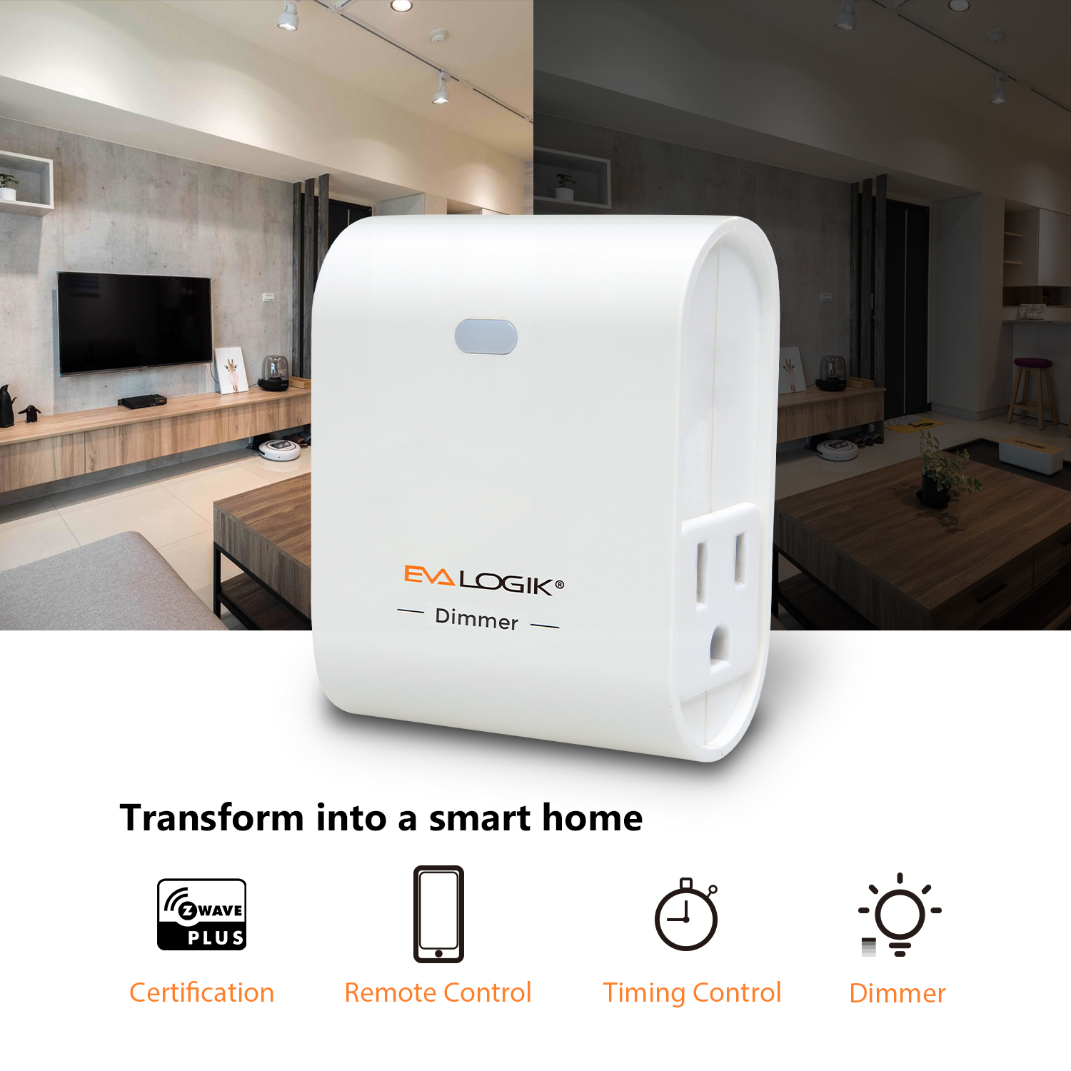 Z-Wave Intelligent Plug-in On/Off Dimmer Switch for Domestic Use
