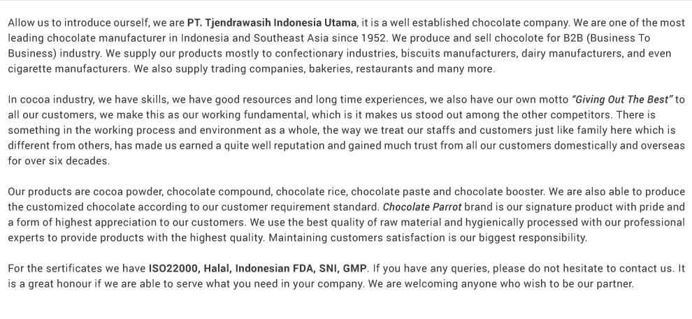 PT  MULTI ANEKA PANGAN NUSANTARA - Chocolate Powder