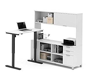 """Bestar Sit Stand Desk W/Hutch Overall Dimensions : 71.1""""W X 67.1""""D X 28""""-45""""H Credenza : 71.1""""W X 19.5""""D X 28.4""""H Height Adjustable Table : 47.6""""W X 24""""D X 28""""-45""""H - White"""