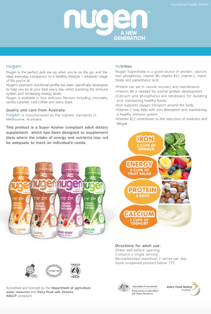 Nugen Supershakes adult health supplement
