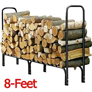 Sturdy Heavy Duty Steel 8-ft Outdoor Firewood Log Rack Keep Your Firewood Neat, Clean and Dry