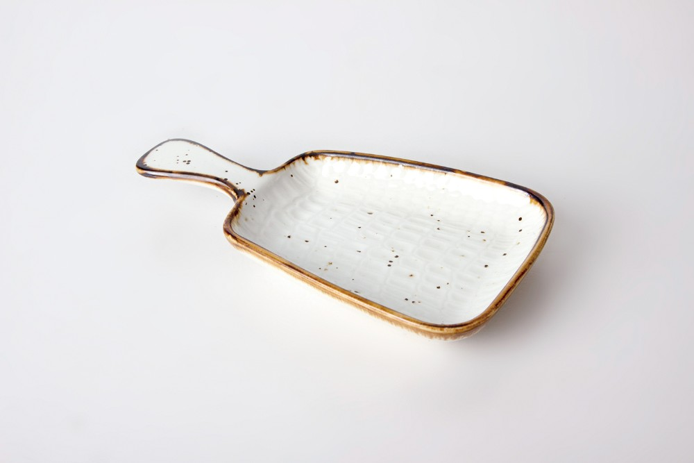 product-Two Eight-high quality color glaze hotel restaurant irregular plate dish with handle-img