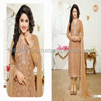 18460ec980 Indian and Pakistani Woman Wear Dress Fancy Embroidery Designer Straight  Suits