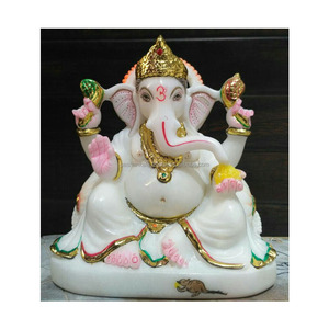 Beautiful New Designed God Ganesha Statue , Gold Painted Marble God, Golden Ganesh