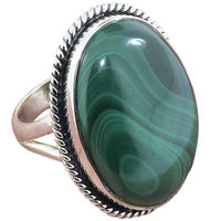 Heaven of Green Malachite Gemstone ring wholesaler 925 sterling silver ring jaipur handmade silver jewelry