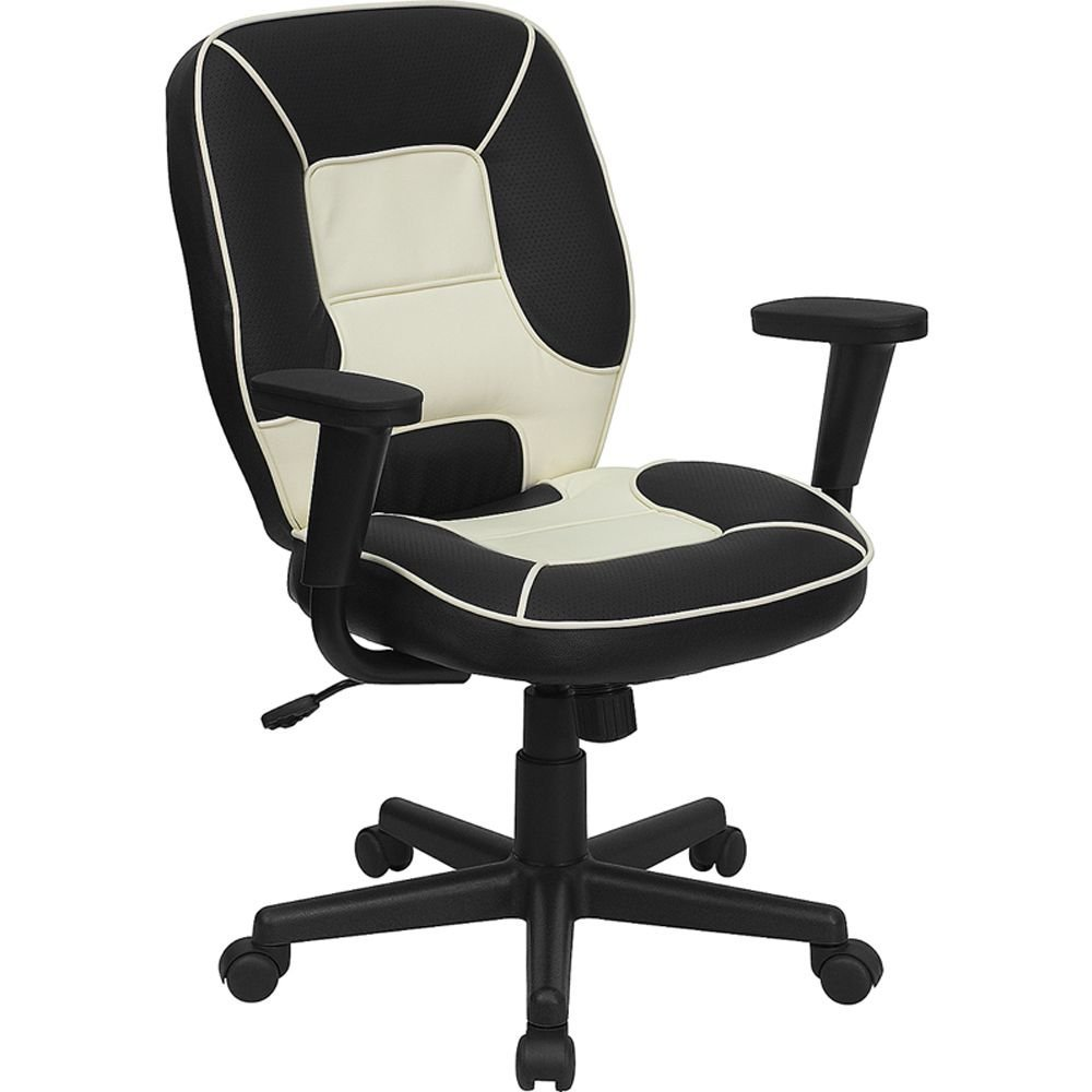 "Elmwood Two-Tone Mid-Back Task Chair in Vinyl Black & White Vinyl Seat & Back/Black Nylon Base Dimensions: 27""W x 20""D x 36.50-41.25""H Weight: 34 lbs"