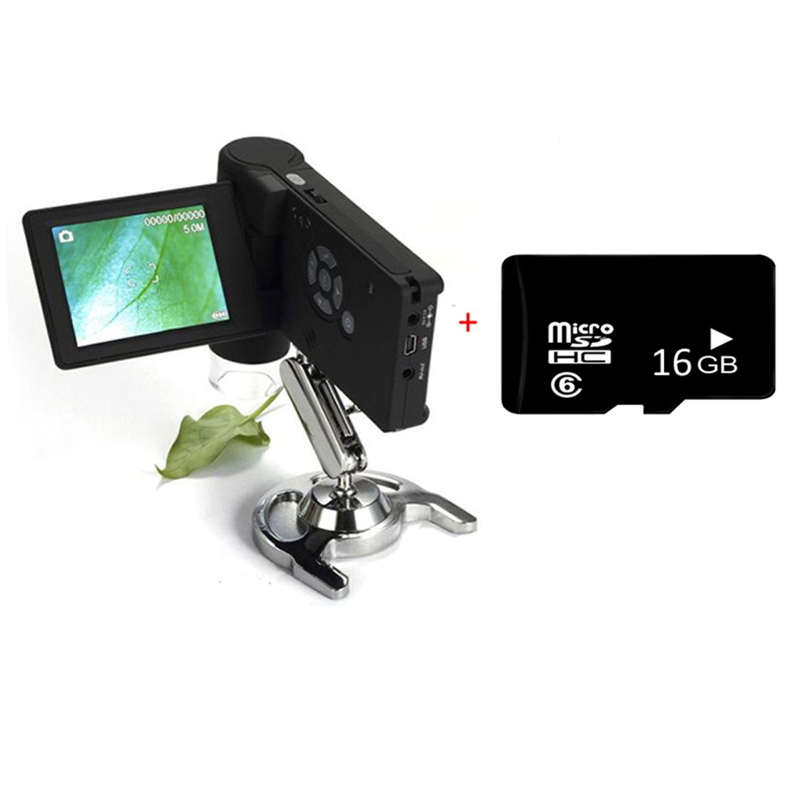 """Handheld Digital USB Microscope 3"""" TFT LCD Screen 200X 500X Magnifier Camera 16GB 5MP Video Microscope with Adjustable Stand"""