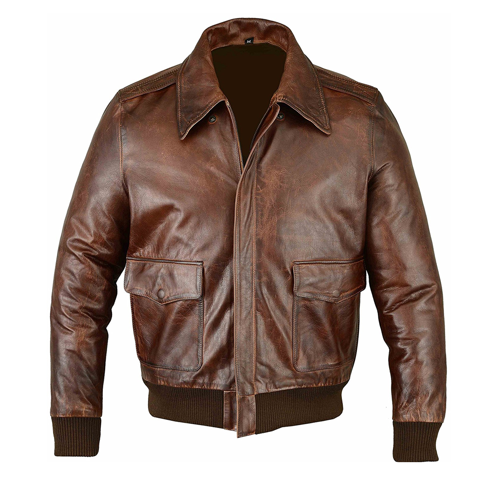 Mens Air Force A-2 Leather Flight Bomber Jacket