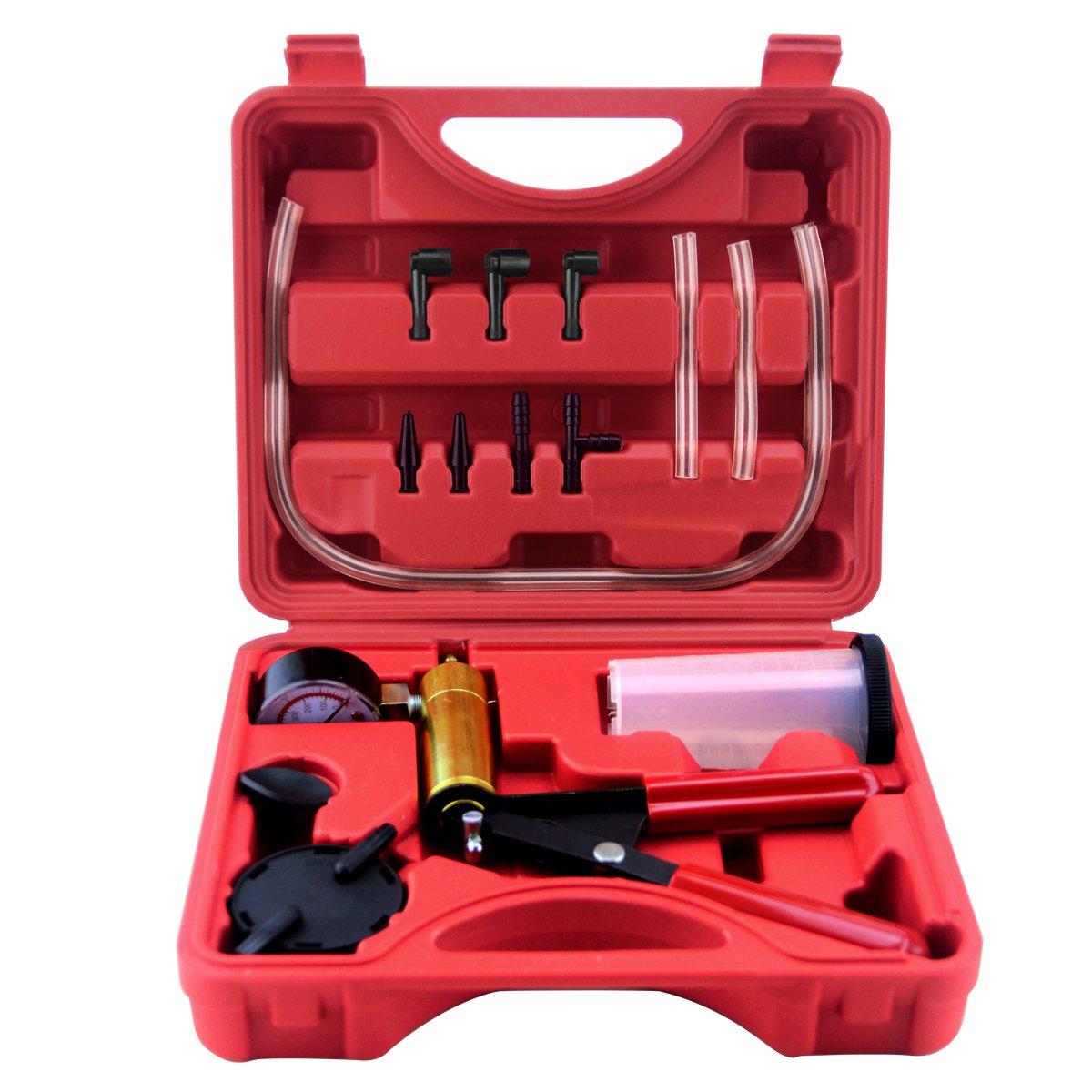 QSICISL Hand Held Vacuum Pump Brake Pump Tester Set Vacuum Gauge and Brake Bleeder Kit for Automotive with Adapters Case Metal handle