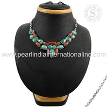 Best selling coral & turquoise gemstone silver necklaces offers 925 sterling silver jewelry fashion jewellery