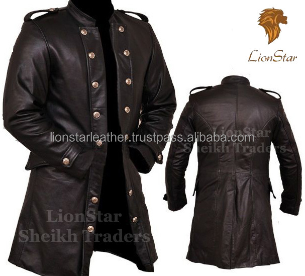 Lionstar Military Style Gothic Steampunk Victorian Real Leather Long Trench Coat