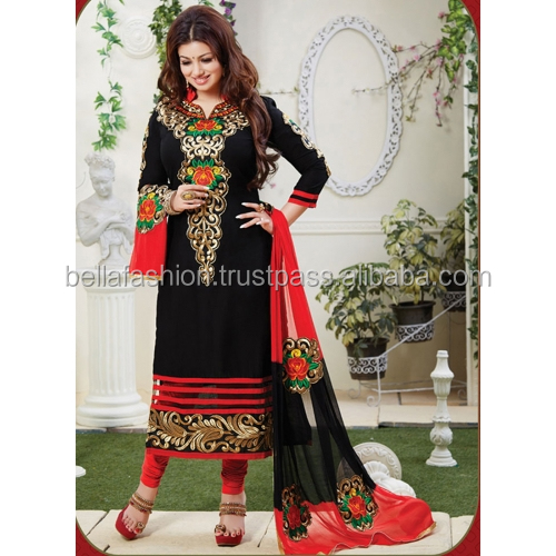 ca143421a8 Black and Red Colour Designer Long Straight Suits For Woman Wear Dress