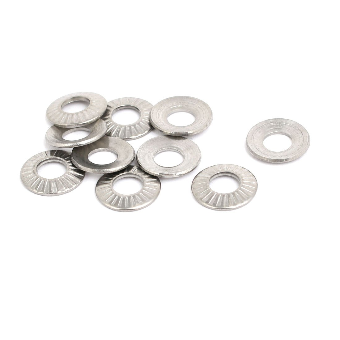 uxcell M5 Inner Diameter 304 Stainless Steel Serrated Conical Spring Washer 10pcs