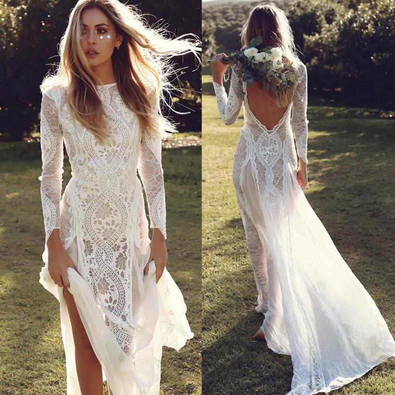 Lace Wedding Dress Backless Boho Wedding Dress Sexy Illusion Back