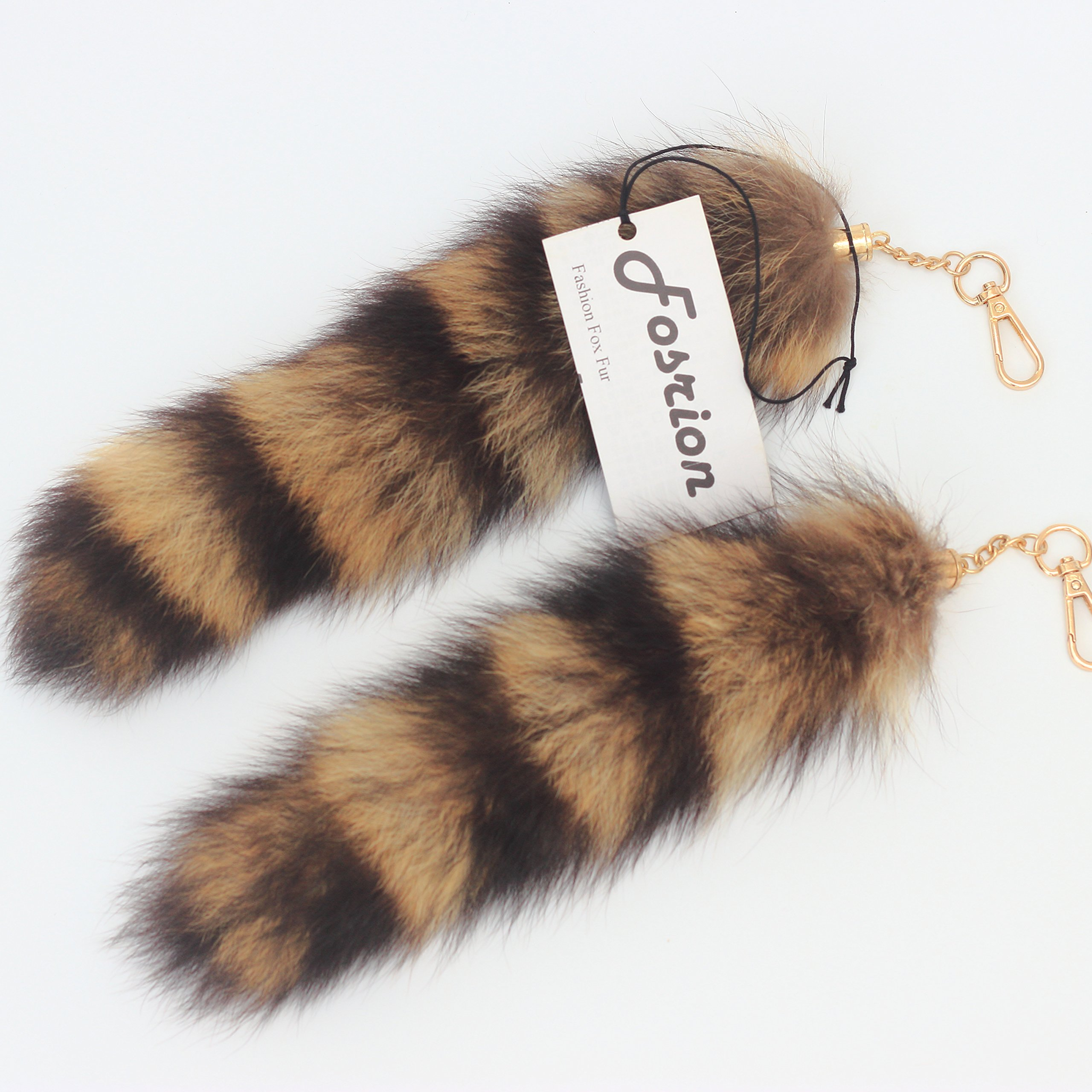 07cfb453b Get Quotations · 2 pcs 10inches Authentic Raccoon Tail Fur Skin Halloween  Party Cosplay Toy Handbag Accessories Key Chain