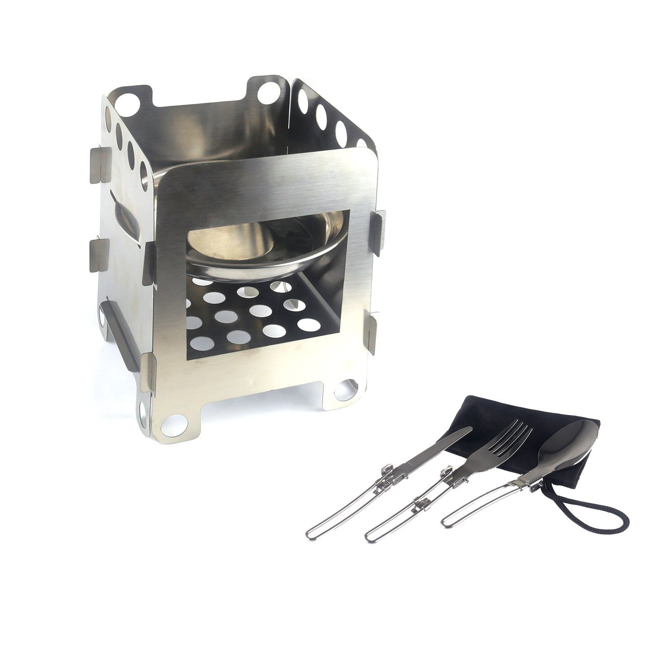 Outdoor Camping Wood Burning Stove, Alcohol Stoves, Lightweight Portable Stainless Steel Foldable Pocket Stove, Backpacking Picnic Cooking Stove-Camping Tableware Set Included