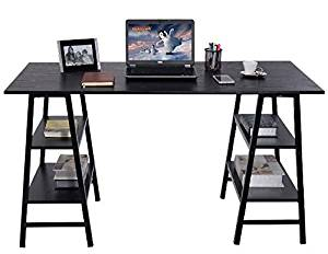 K&A Company Writing Computer Desk Table Student Storage Shelves Kids Room New Furniture Dorm Laptop Wood Corner Drawer Office Shelf Work Unit 55""