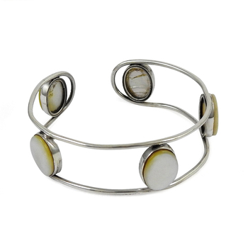Mother of pearl gemstone 925 silver bangle sterling silver jewelry handmade silver bangles wholesaler