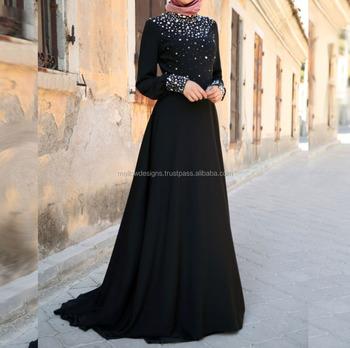 Black Wholesale Crystal Embellished Abaya Jalabiya Gown Maxi Dress ...