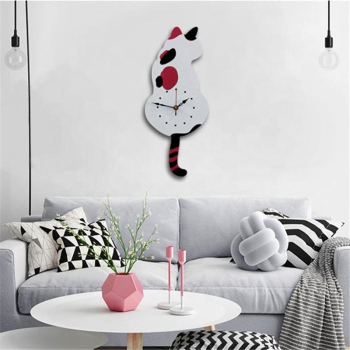DIY Acrylic Shake the Tail Cute Cat Wall Clock with Swinging Tails Bedroom Living Room Kitchen Home Decor Swing Tail Cat Clock