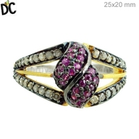 Silver and Gold Designer Ring Natural Ruby Gemstone Pave Diamond Ring Jewelry Manufacturer