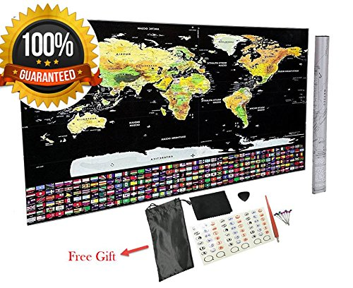 Scratch Off World Map Poster - with US States and Country Flags, Track Your Adventures. Good Bonus: Scratcher, Scratch Pen, Pin and Memory Stickers, Perfect Gift for Travelers