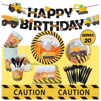 Nicro Birthday Themed Decorations Paper Plate Car Construction Party Supplies Set