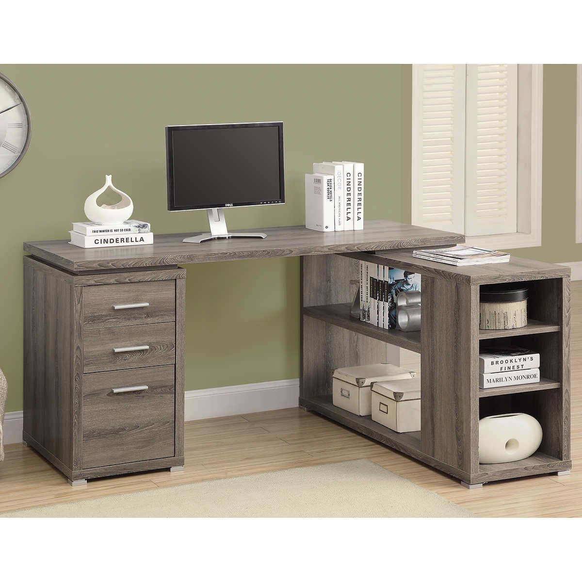 Grey Modern Left/Right Facing Corner Desk Workstation | Perfect Contemporary Home Office or College Student Dorm Room Storage Table for Your Computer, PC, Laptop, Monitor, Books, Papers and Supplies