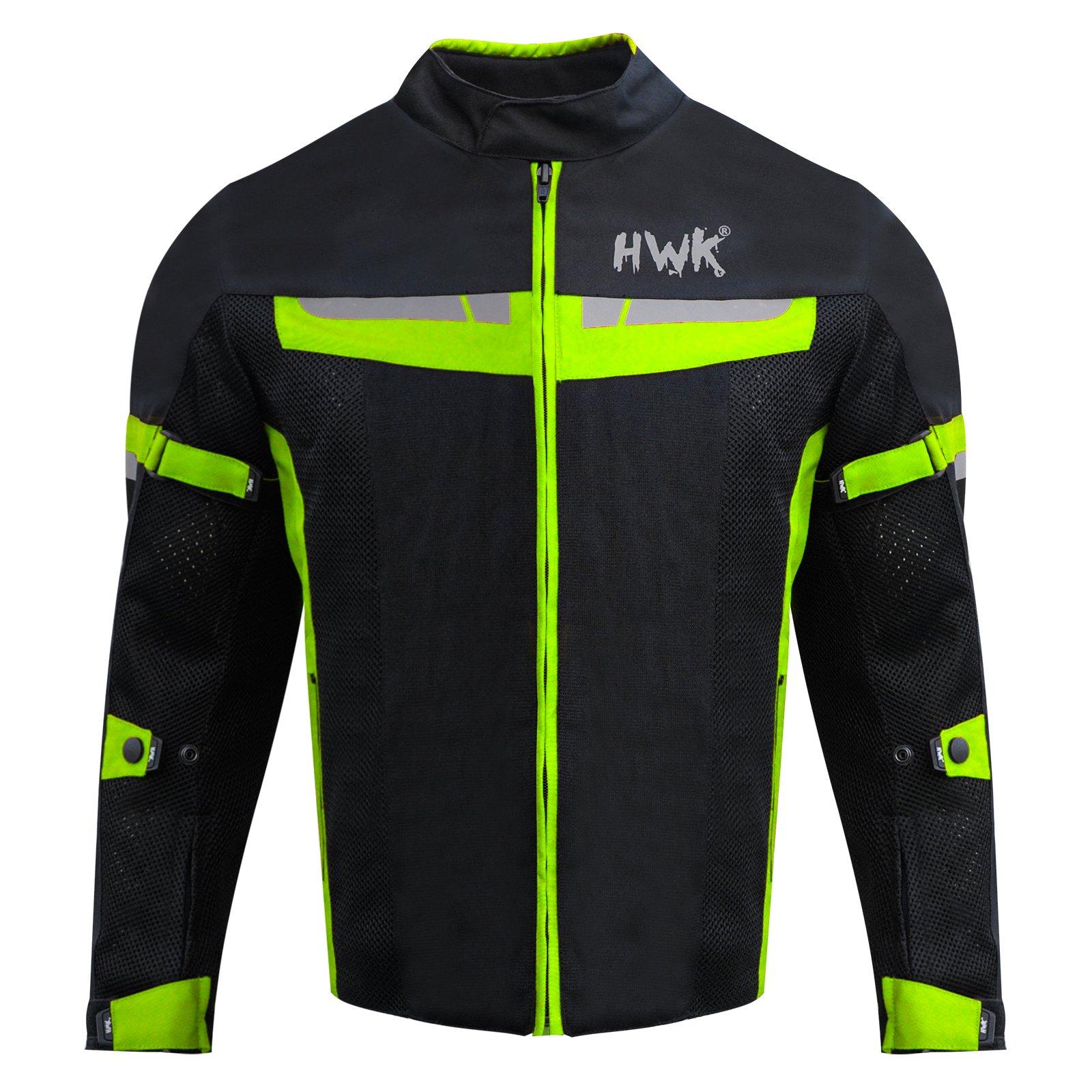 HWK Motorsports Direct Mesh Motorcycle Jacket Coat Motorbike Jacket Biker Cordura Waterproof CE Armoured Breathable 100% Waterproof Reissa Membrane 1 YEAR WARRANTY!! (Medium, Green)
