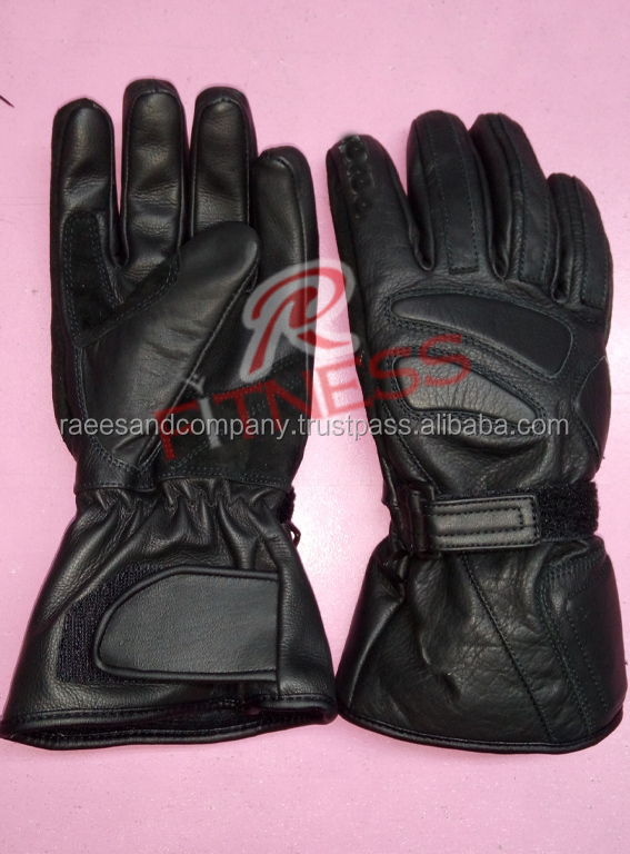 Black and Red Motorbike Gloves