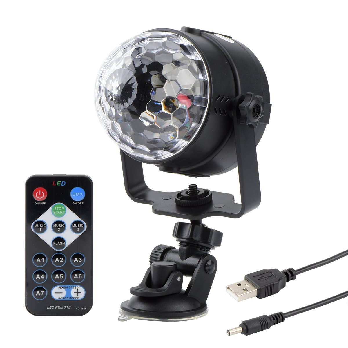 get quotations huamai dj disco ball light rgb party light with remote controller and usb cable for car