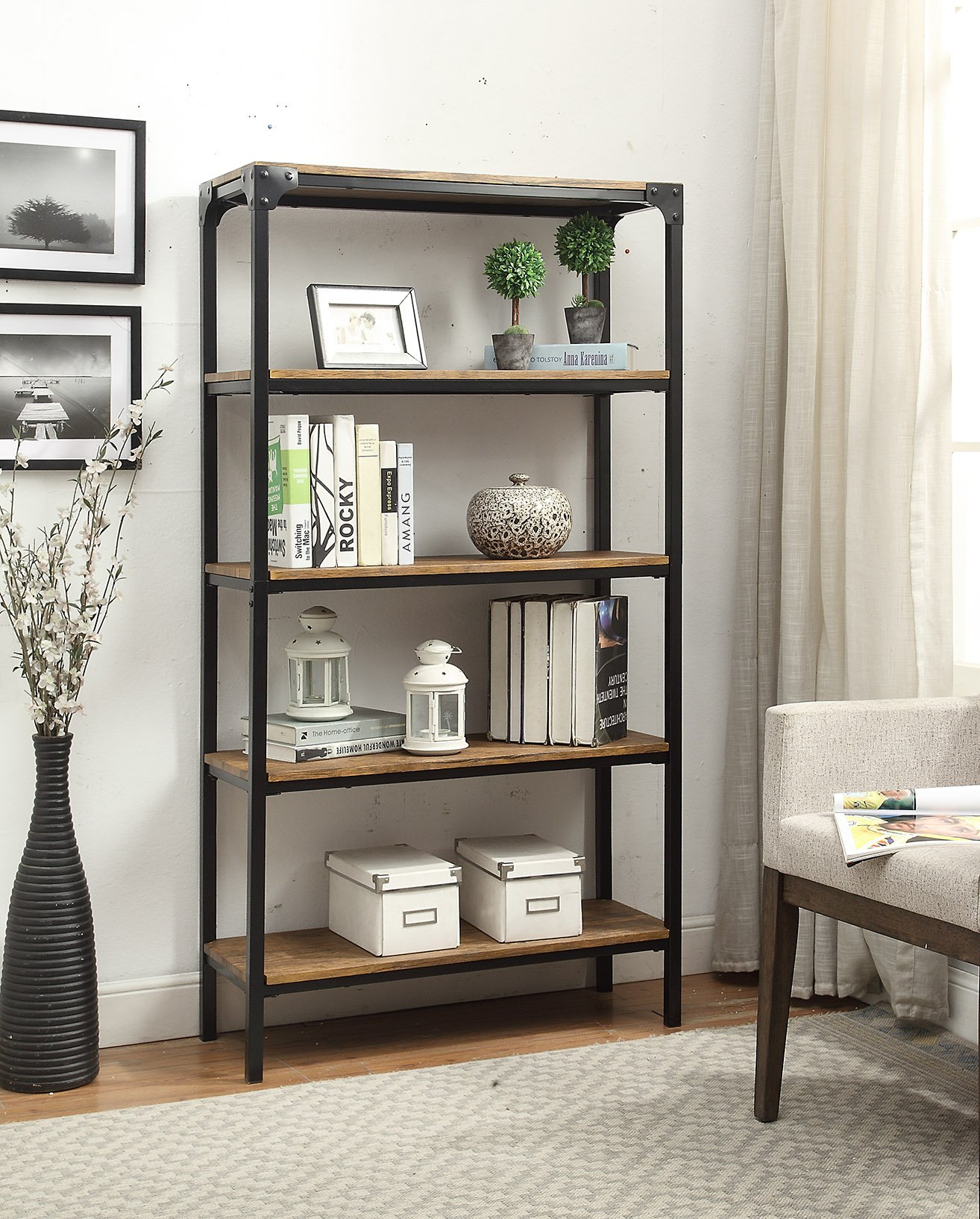 5-tier Vintage Brown Industrial Look Black Metal Bookcase Bookshelf Shelf Heavy Duty