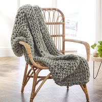 Handmade Hot Sales Super Soft Chunky Acrylic Yarn Grey Thick Knitted Throw Blanket