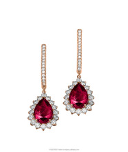 Classic Diana Earring Set with 2 center stone Ruby Pear Shape cut 1.50ct and 17 small diamonds around it