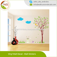 Nursery Vinyl Wall Kids Decal Rabbit with Tree Art Home Baby Bunny Wall Decoration Sticker