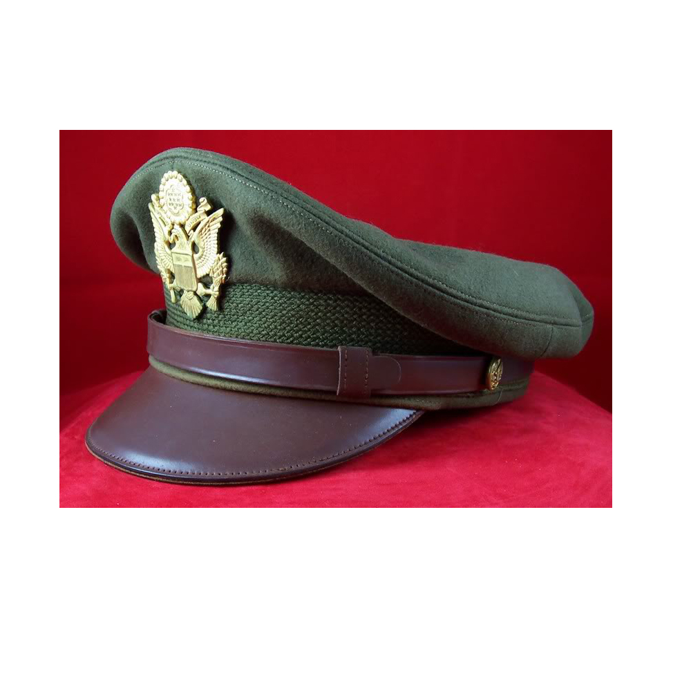 US officer visor hat with metal insignia American military hat with leather  peck 4ce412254cd