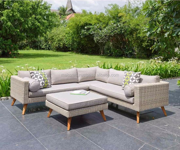 Patio Outdoor Wicker Rattan Garden Teak Solid Wooden Sofa Set Corner