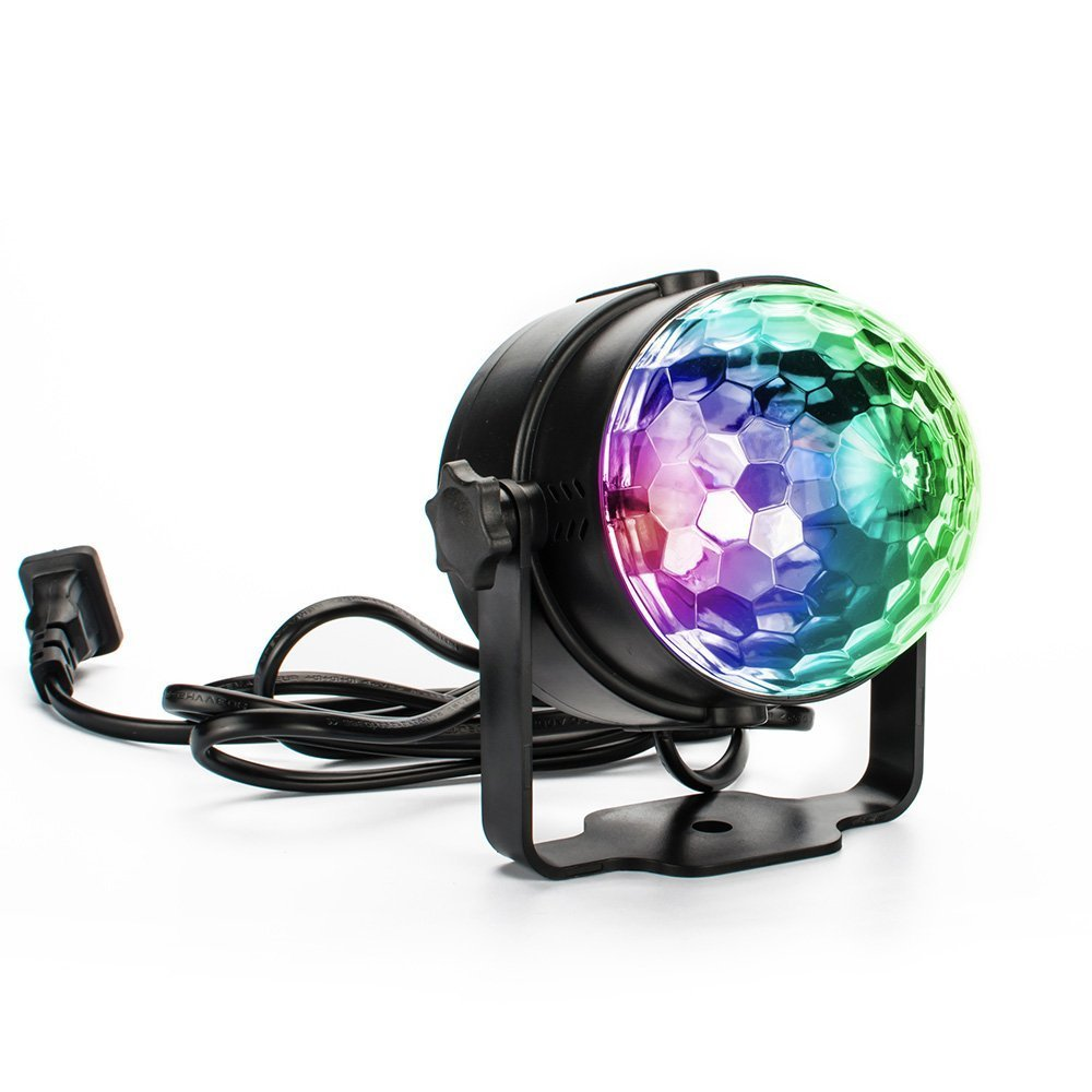 FlyO Mini Magic Party Lights ,3W Disco Ball ,Kid's Light, Magic Ball, RGB Sound Activated 7 Colors LED Stage Lights For Pub, KTV, Party, Wedding, Celebration, Bedroom Or Kid Birthday Party